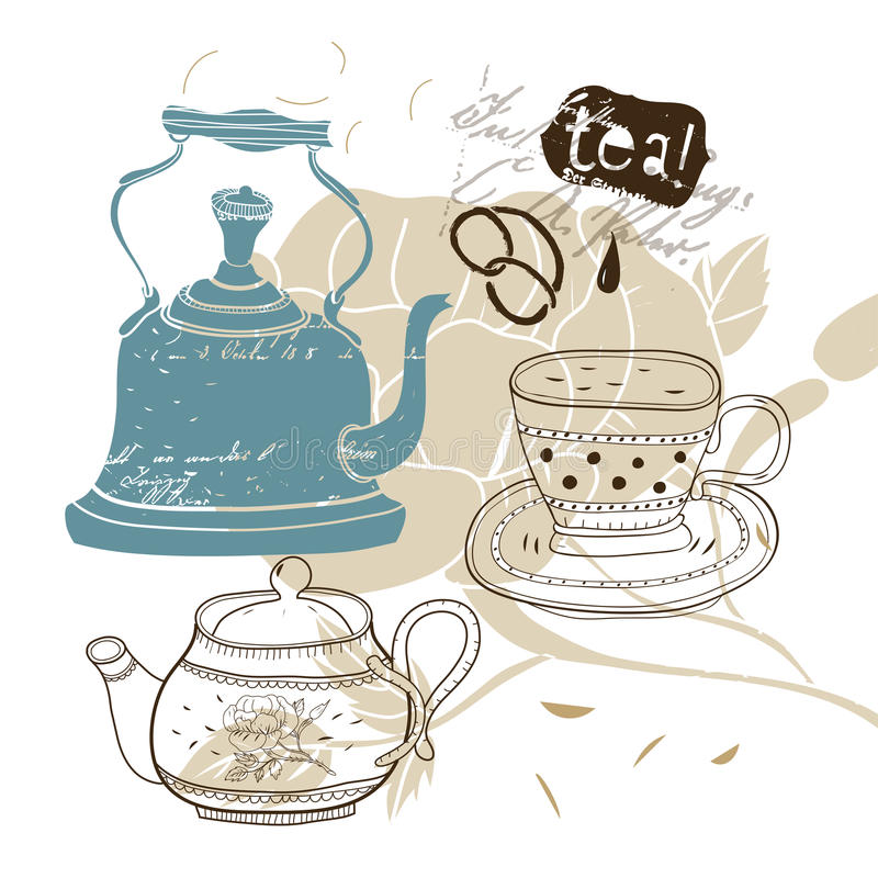 Download Teatime stock vector. Image of collage, like, food, retro - 24634663