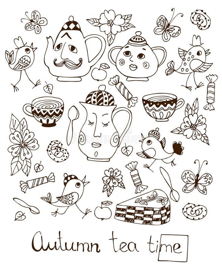 Teatime do outono Cartão bonito com elementos tirados mão para o tea party ilustração royalty free
