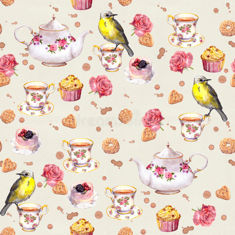 Teatime: herbaciany garnek, filiżanka, torty, wzrastał kwiaty, ptak bezszwowy wzoru akwarela ilustracja wektor