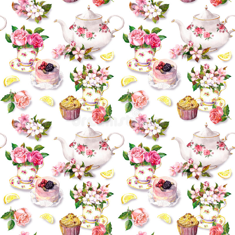 Teatime pattern: flowers, teacup, cake, teapot. Watercolor. Seamless background. Tea pattern with flowers in teacup, cupcake and teapot. Watercolor. Repeating stock image
