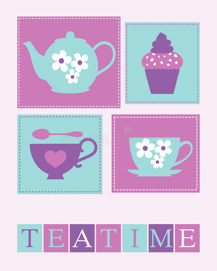 Download Teatime Poster stock vector. Image of element, stack - 24575115