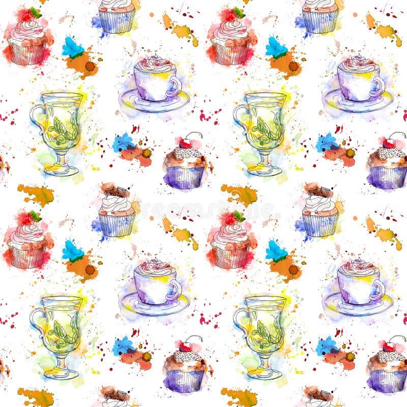 Teatime que repite el modelo Tortas de la magdalena, té, taza de café libre illustration