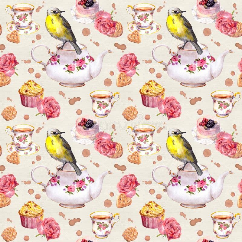 Free Teatime: Tea Pot, Cup, Cakes, Rose Flowers, Bird. Seamless Pattern. Watercolor Stock Photos - 78781513