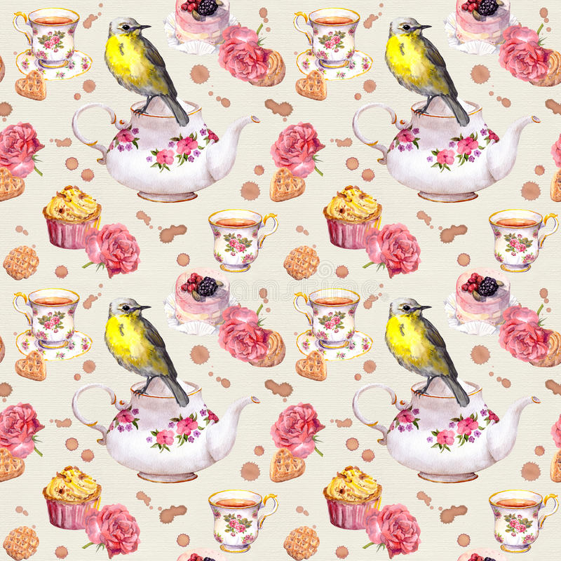 Teatime: tea pot, cup, cakes, rose flowers, bird. Seamless pattern. Watercolor. Teapot, tea cup, cakes, rose flowers and bird. Repeating tea party background stock illustration