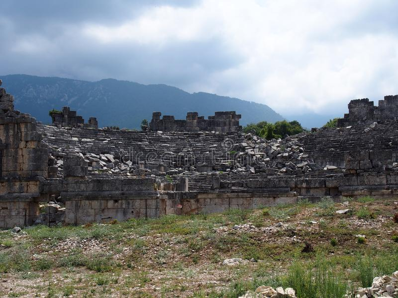 Teatr antyczny miasto Tlos Fethiye zdjęcie stock