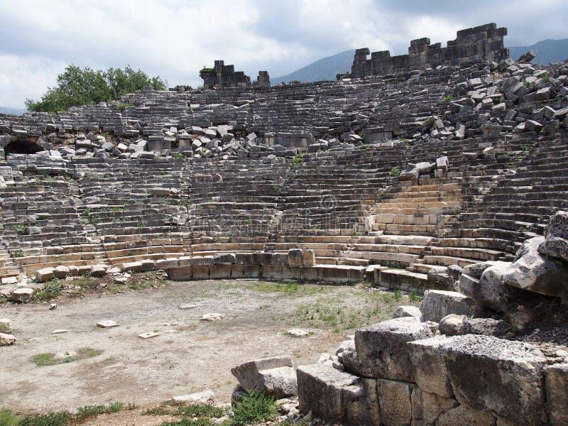Teatr antyczny miasto Tlos Fethiye fotografia stock