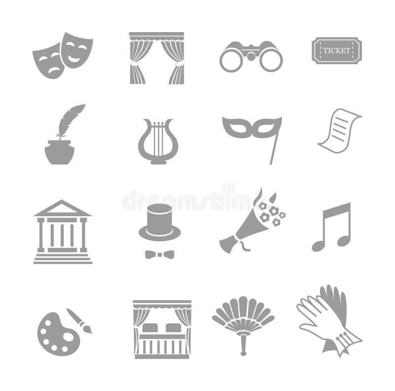 Teatr działające ikony ustawiają czarnego wektor royalty ilustracja