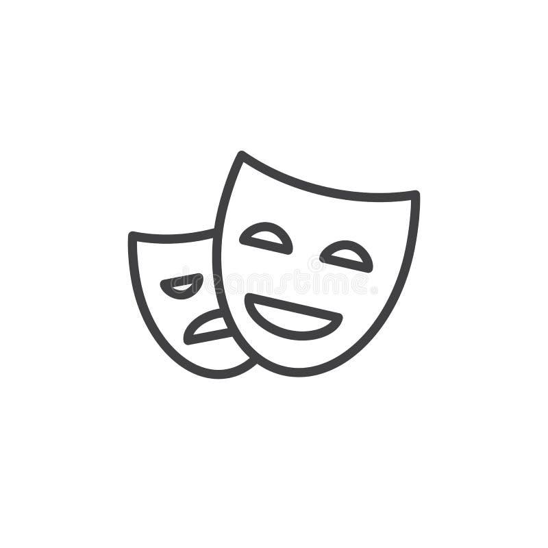 Teatr masek kreskowa ikona, konturu wektoru znak, liniowy stylowy piktogram odizolowywający na bielu royalty ilustracja