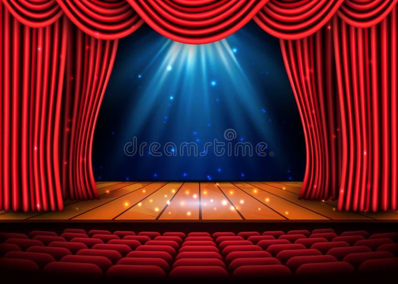 Teatr scena z czerwoną zasłoną i podłoga światła reflektorów i drewnianej Festiwal nocy przedstawienia plakat wektor royalty ilustracja