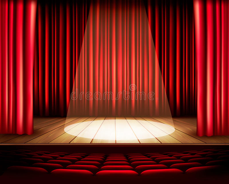 Teatr scena z czerwoną zasłoną, siedzeniami i światłem reflektorów, ilustracja wektor
