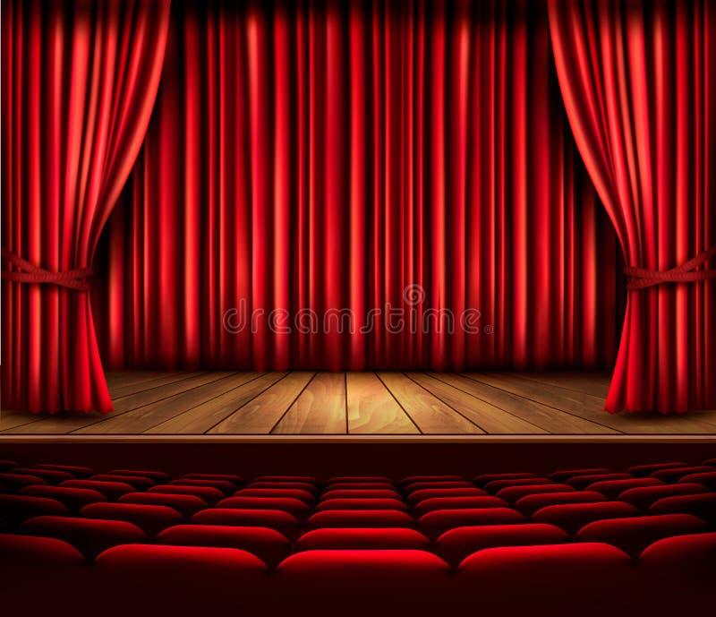 Teatr scena z czerwoną zasłoną, siedzeniami i światłem reflektorów, Vecto ilustracji