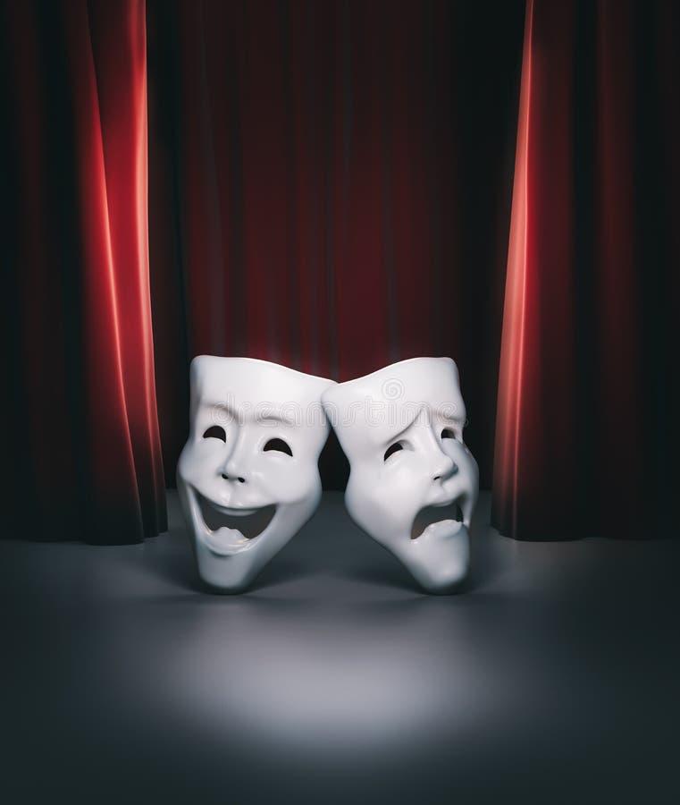 Teatr scena z czerwoną zasłona i maski ilustracją/3D ilustracji