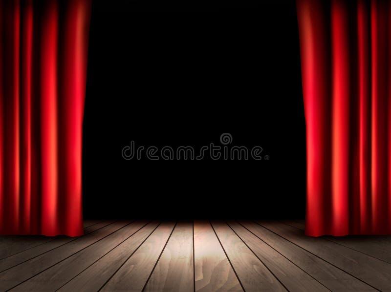Teatr scena z drewnianymi podłogowymi i czerwonymi zasłonami ilustracji