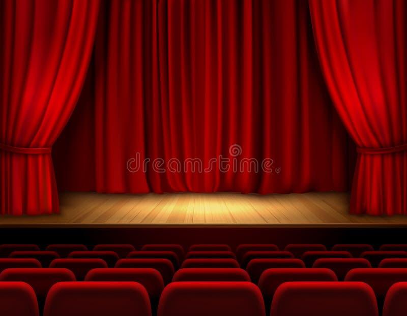 Teatr sceny tło royalty ilustracja