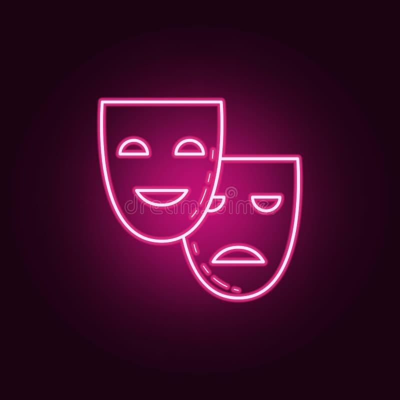 Teatr szyldowa ikona Elementy środki w neonowych stylowych ikonach Prosta ikona dla stron internetowych, sieć projekt, mobilny ap royalty ilustracja