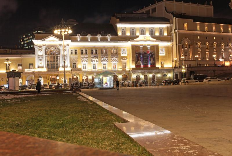 Teatralnaya Square in Moscow by night. stock photography