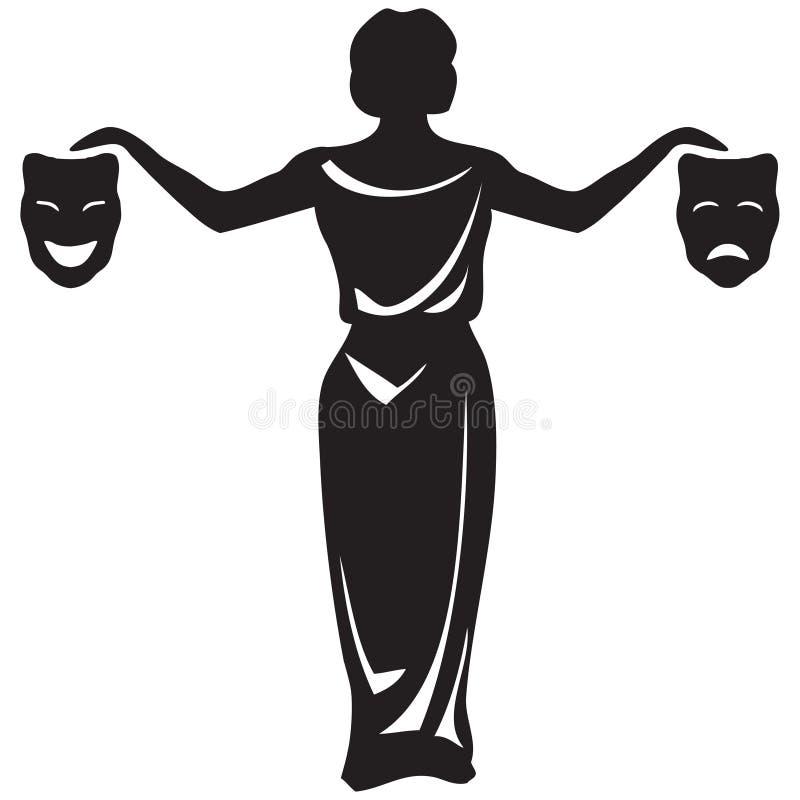 Teatralnie emblemat z maskami ilustracji