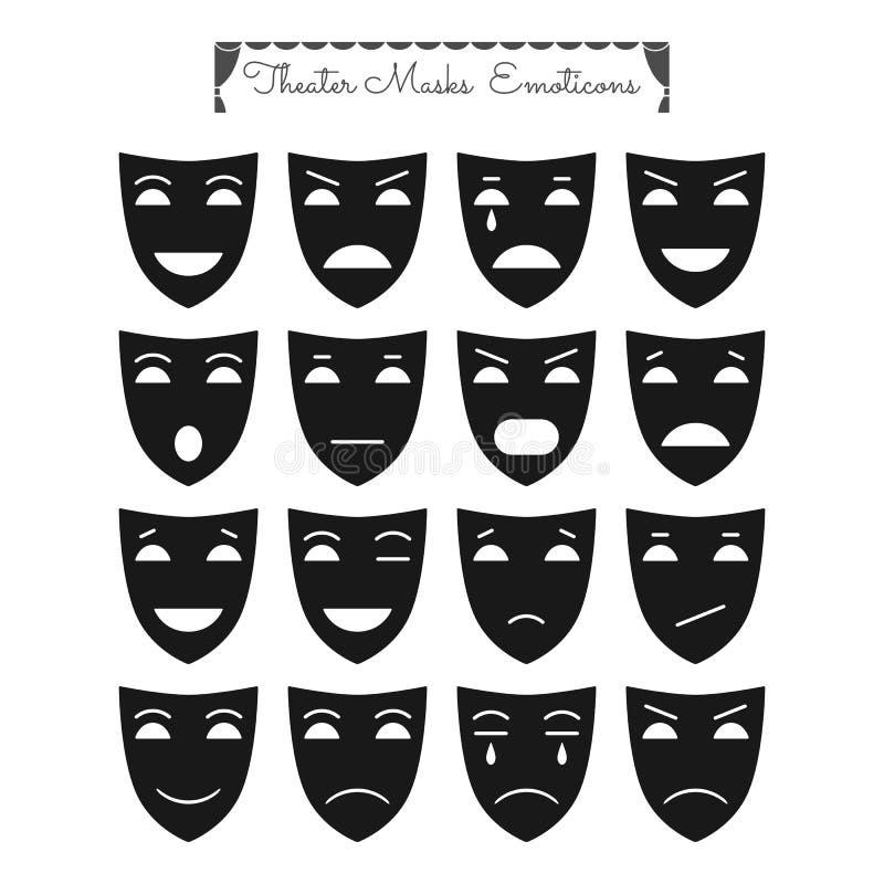 Teatralnie maski, emoticons ilustracja wektor