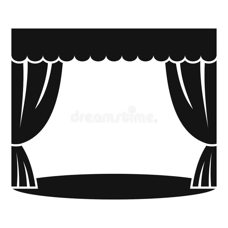 Teatralnie zasłony ikona, prosty styl ilustracja wektor