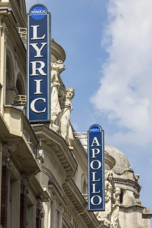 Teatrarna för västra slut för lyrisk dikt och Apollo royaltyfri foto