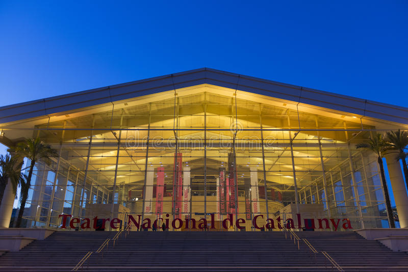 Teatre Nacional de Catalunya, Barcelona. Barcelona, Spain - February 22, 2014: Night view of the front stairs and main entrance to the Teatre Nacional de stock photography