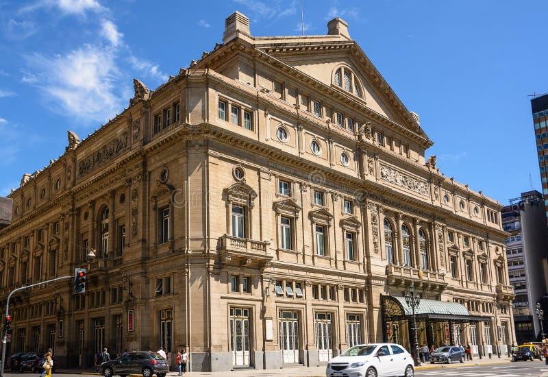 Teatro冒号的门面在布宜诺斯艾利斯阿根廷 免版税图库摄影