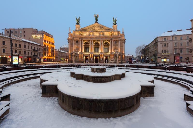 Teatro acadêmico do estado de Lviv de Opera e do bailado fotografia de stock