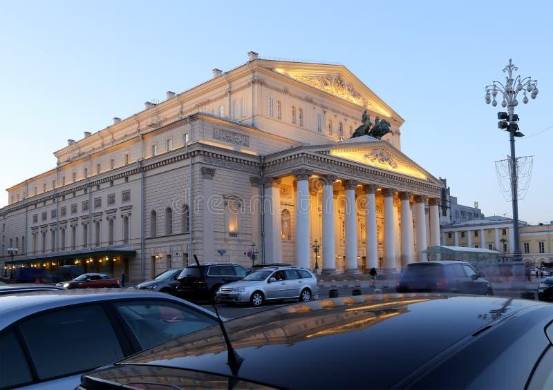 Teatro alla notte, Mosca, Russia di Bolshoi immagine stock libera da diritti