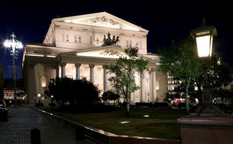Teatro alla notte, Mosca, Russia di Bolshoi fotografie stock libere da diritti