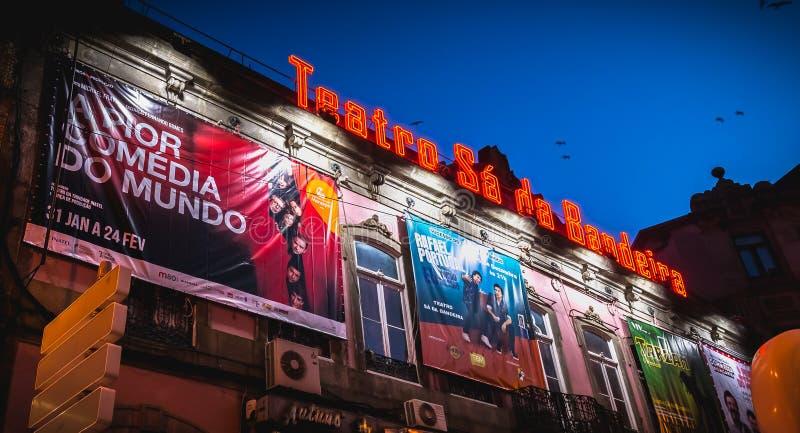 Teatro architectural SA DA Bandeira de d?tail de fa?ade de th??tre ? Porto photo libre de droits