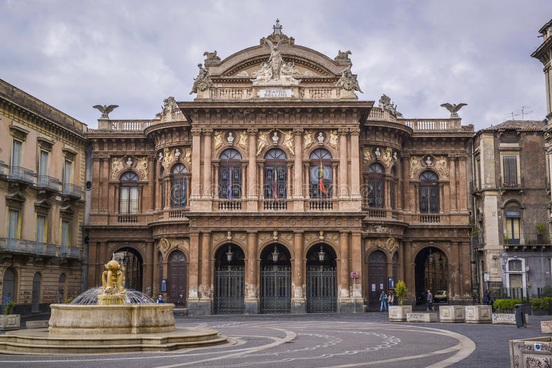 Teatro bellini, secily卡塔尼亚 免版税库存照片