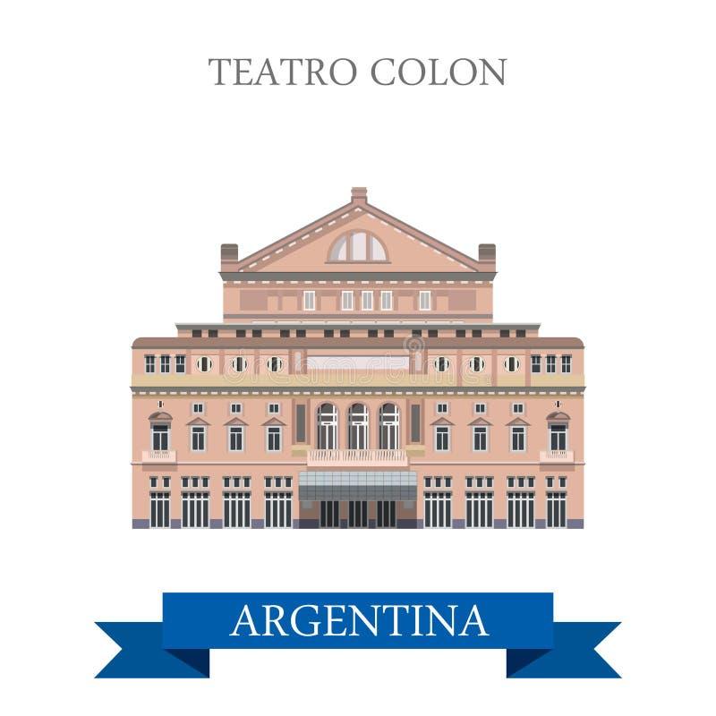Teatro Colon Buenos Aires Argentina vector flat landmarks royalty free illustration
