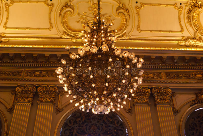 Teatro Colon Chandelier and deco stock images