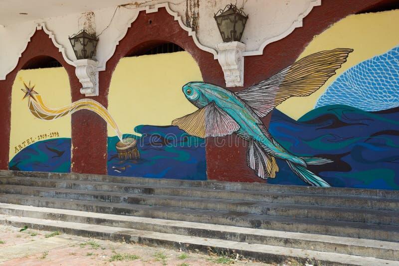 Teatro Colon. Colourful murals decorating the historic Teatro Colon in the UNESCO World Heritage City of Cartagena de Indias in Colombia royalty free stock photos