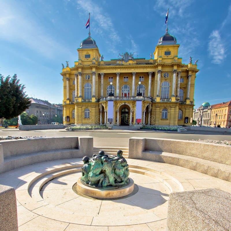 Teatro croata del nationa en Zagreb foto de archivo libre de regalías