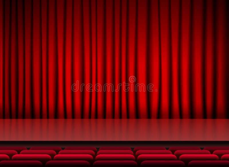 Teatro da fase do auditório com cortinas e assentos vermelhos ilustração royalty free