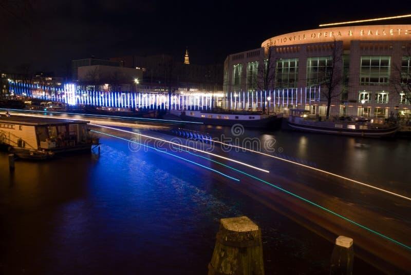 Teatro da música no festival da luz de Amsterdão fotografia de stock royalty free
