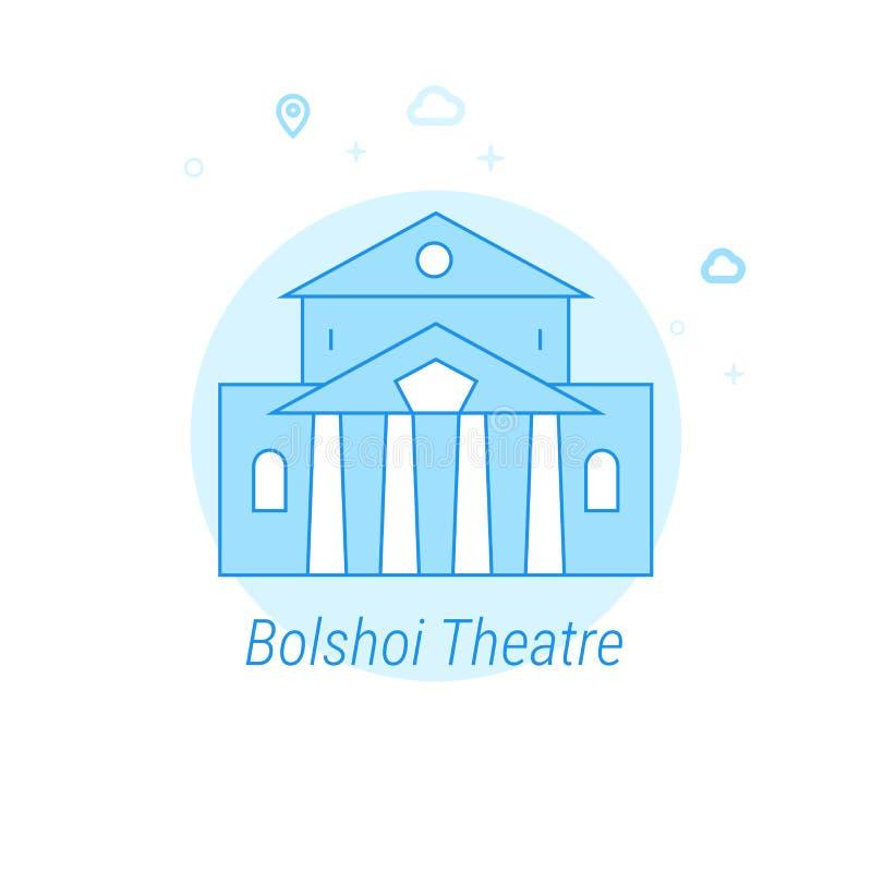 Teatro de Bolshoi, ejemplo plano del vector de Moscú, icono Diseño monocromático azul claro Movimiento Editable ilustración del vector