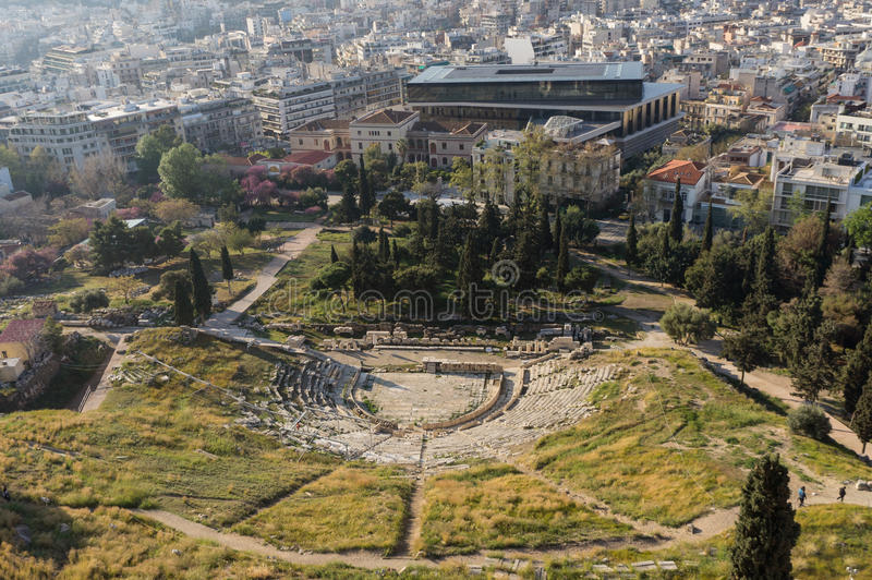 Teatro de Dionysus, Atenas, Grécia fotografia de stock royalty free