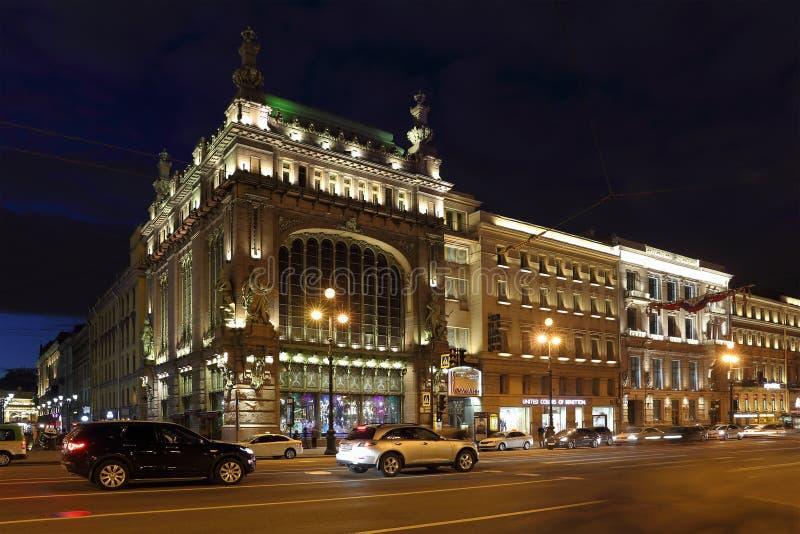 Teatro de la comedia de St Petersburg de un nombre de Akimova en Nevsky favorable imágenes de archivo libres de regalías