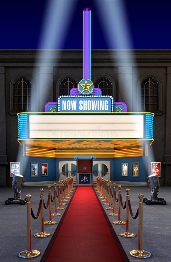 Teatro de película y rectángulo del boleto stock de ilustración