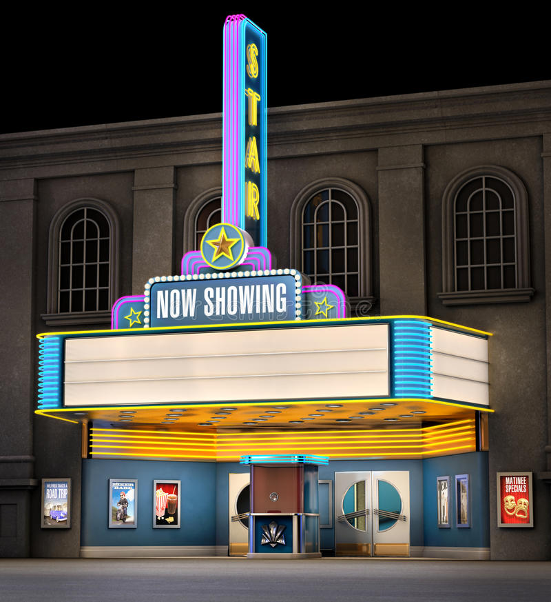 Teatro de película y rectángulo del boleto ilustración del vector