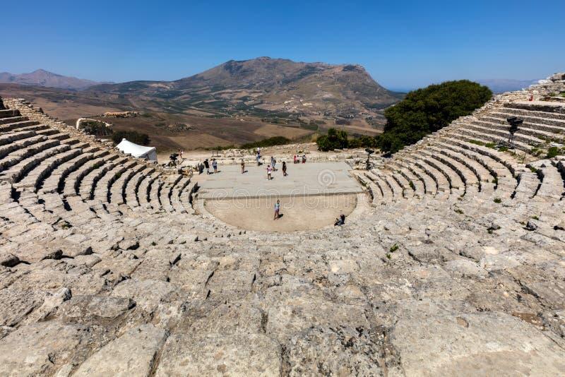 Teatro del greco antico di Segesta fotografia stock
