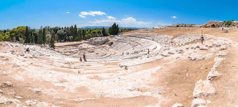 Teatro del greco antico di Siracusa, Sicilia, Italia immagine stock libera da diritti