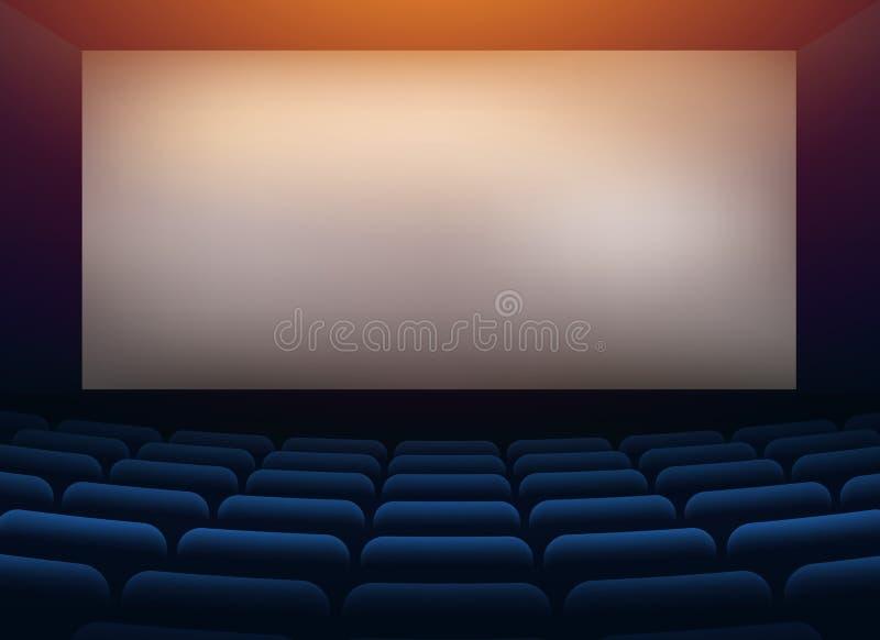 Teatro del pasillo del cine de la película con la pared de la proyección stock de ilustración