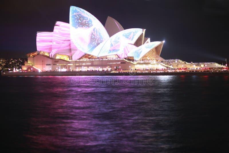 Teatro dell'Opera di Sydney alla notte immagini stock libere da diritti
