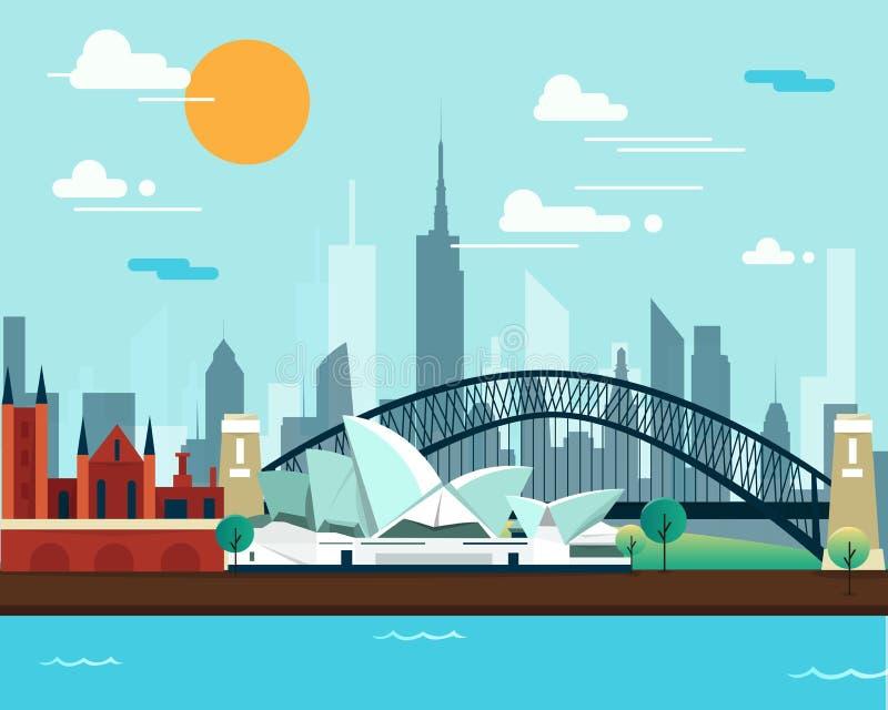 Teatro dell'opera e ponte di Sydney per viaggiare royalty illustrazione gratis