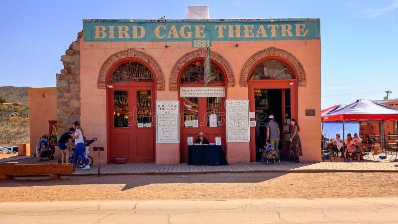 Teatro della gabbia per uccelli in pietra tombale, Arizona fotografia stock