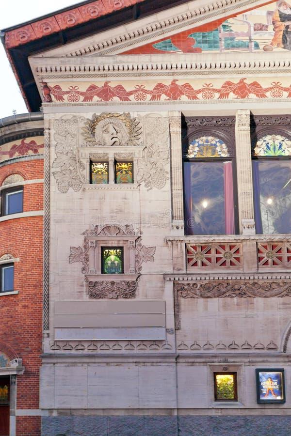 Teatro di Aarhus - Bispetorvet quadrato all'alba denmark immagine stock libera da diritti