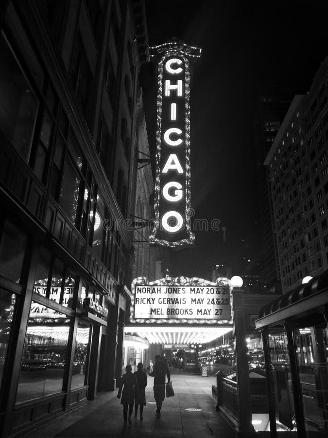 Teatro di Chicago alla notte immagini stock libere da diritti